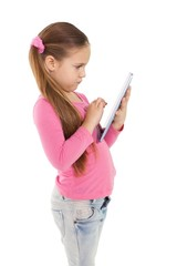 Cute little girl using tablet pc