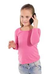 Cute little girl talking on smartphone