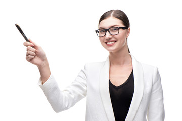 Young beautiful business woman smiling and pointing at something