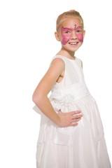 Happy little girl in butterfly face paint