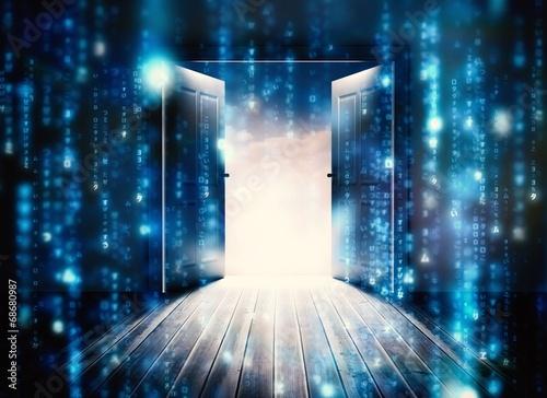 Composite image of doors opening to reveal beautiful sky - 68680987