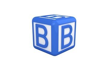 B blue and white block