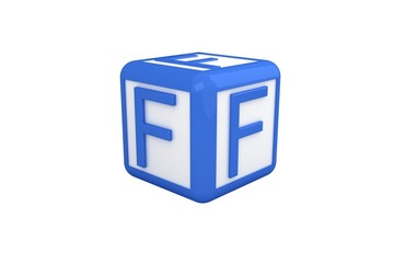 F blue and white block