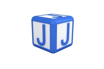 J blue and white block