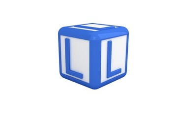 L blue and white block