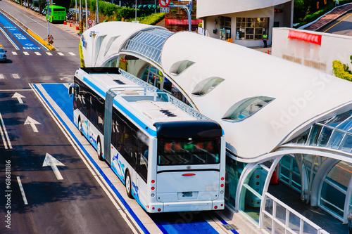Leinwanddruck Bild bus rapid transit (BRT) system in Taichung, Taiwan