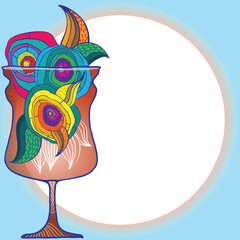 Artistic vector illustration of goblet of drink