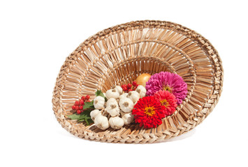 Spices with Flowers in the Straw Hat