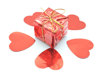 The Red Gift with Hearts