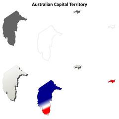 Australian Capital Territory blank detailed outline map set