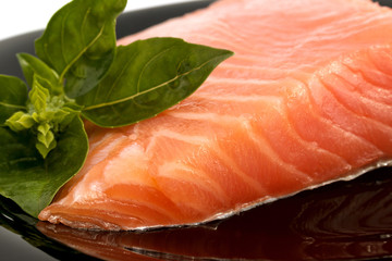 Appetizing Salmon and the Sprig of Basil