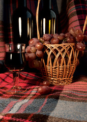 The Wine and Grapes on the Plaid Background