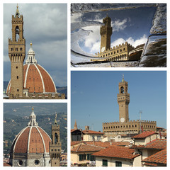 collage with images of Palazzo Vecchio, town hall of Florence