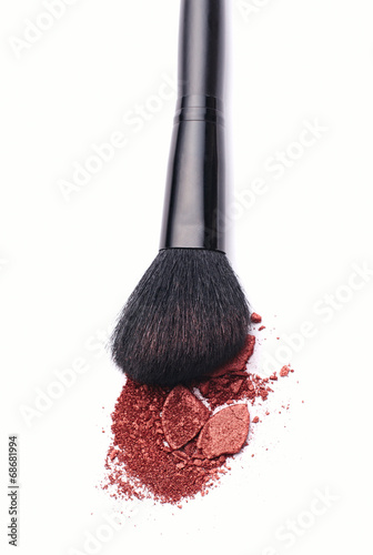 canvas print picture Close-up of Make-up Powder with Brush