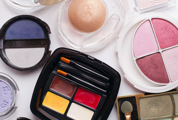 Colorful array of modern cosmetics