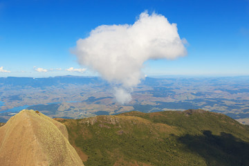 Peak of mountain sky cloud in heart shape