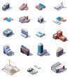 Isometric factory and office buildings set - 68682979