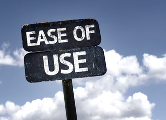 Ease of Use sign with clouds and sky background