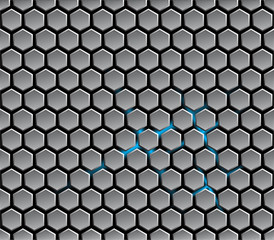 Background with metal hexagons