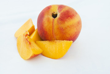 Ripe Peach fruit and slices