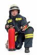 Leinwanddruck Bild - Feuerwehrfrau mit Feuerlöscher