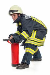 Feuerwehrfrau mit Feuerlöscher
