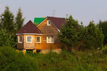 деревянный дом - коттедж, в лесу
