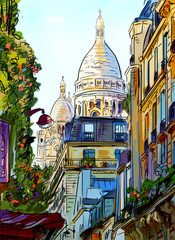 Street in paris - illustration