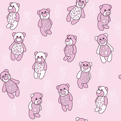 Seamless background with teddy bears in pink