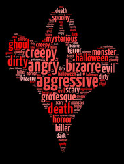 Words illustration of scary ghost over black background