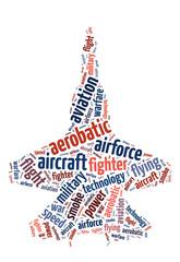 Words illustration of a jet fighter over white background