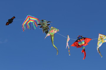 kites flutter free high in sky blue