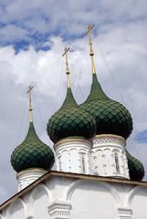 Old orthodox church cupolas in Yaroslavl, Russia.