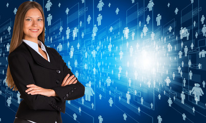Businesswoman in suit with people icons