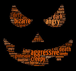 Words illustration of a scary face over black background