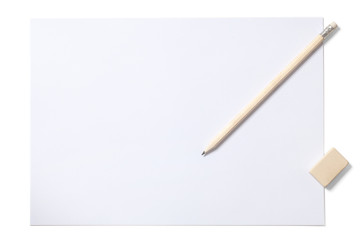 White Sheet Pencil and Eraser with Clipping Path