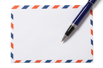 Blank Envelope and Pen with Clipping Path