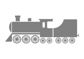 Grey locomotive icon on white background