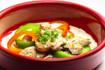 turkey meat stewed with peppers