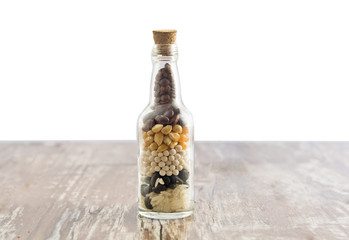Grains in bottle