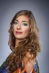 Italy, studio portrait of a beautiful girl
