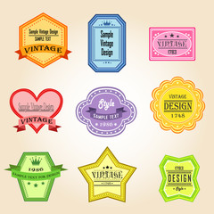 Colorful vintage and retro badges design with sample text