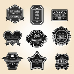Silhouette vintage and retro badges design with sample text (vec