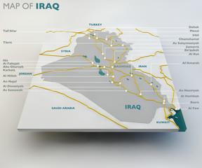 Mappa dell'Iraq, stato iracheno, confini, strade e città