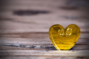 Golden Heart on Wood