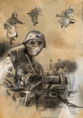 Soldier in mask - An hand drawn illustration
