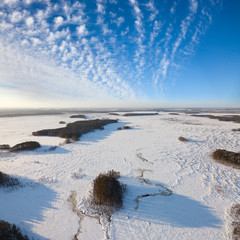 Top view of the lowland in winter
