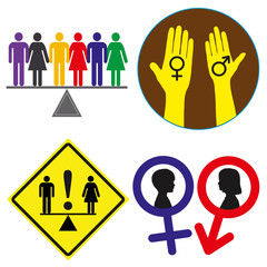 Set of Equal Rights Concept Signs