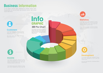 Business 3D Pie chart infographic. Business report creative mark