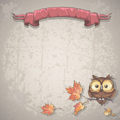 Illustration background with owl and autumn leaves.